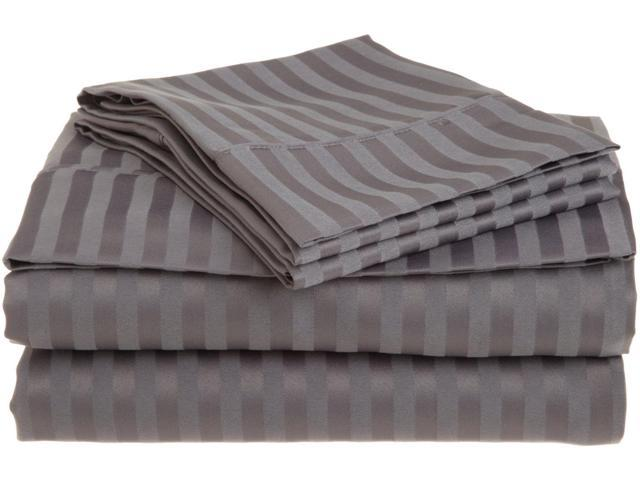 Impressions Striped Soft Sheet Set, Wrinkle Free Microfiber, Deep Pocket, Full, Silver