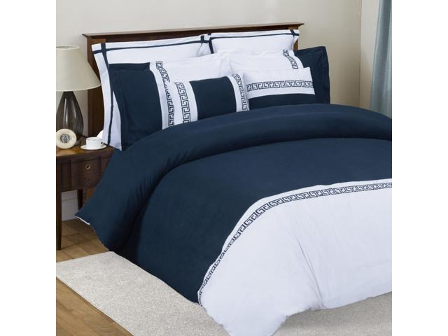 Impressions Emma 7-Piece Duvet Cover Set, Soft Microfiber, King/Cal King, White/Navy