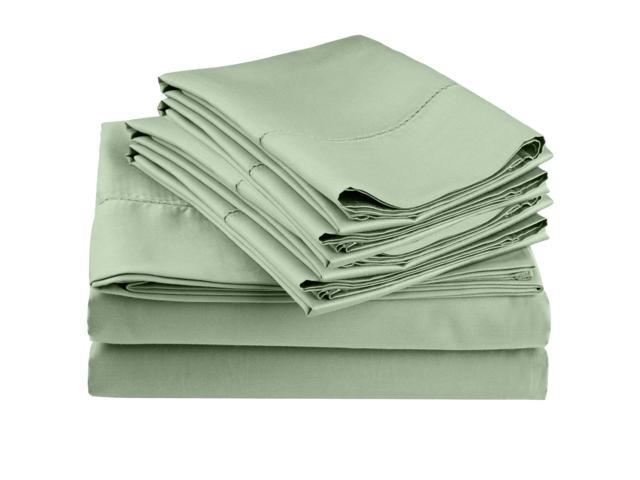 Impressions Embroidered Hem Stitch Sheet Set, Extra Pillowcases, Cal King, Sage