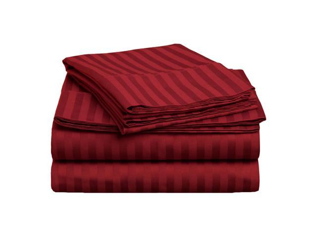 Impressions Striped Premium Cotton Sheet Set, 400-Thread-Count, King, Burgundy