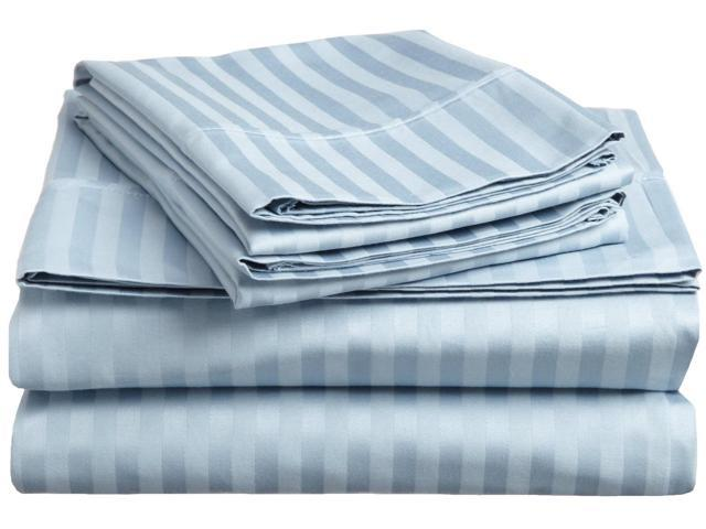 Impressions Striped 300-Thread Sheet Set, Premium Long-Staple Cotton, Twin XL, Light Blue
