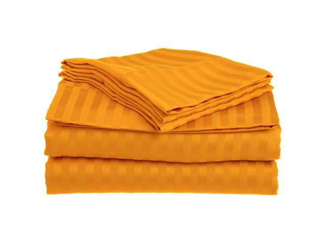 Impressions Striped Soft Sheet Set, Wrinkle Free Microfiber, Deep Pocket, Twin XL, Orange