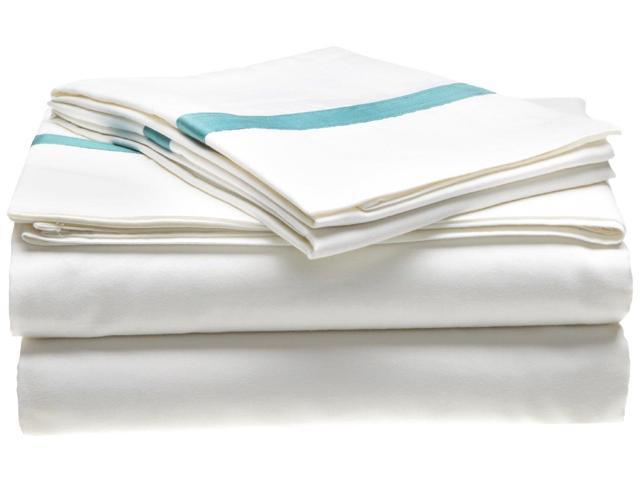 Impressions 300-Thread-Count Sheet Set, 100% Long-Staple Cotton, Twin, White/Turquoise