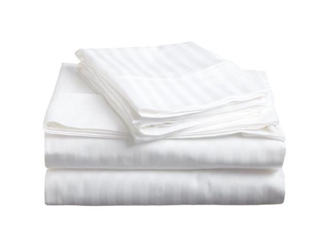 Impressions Striped 300-Thread Sheet Set, Premium Long-Staple Cotton, Cal King, White