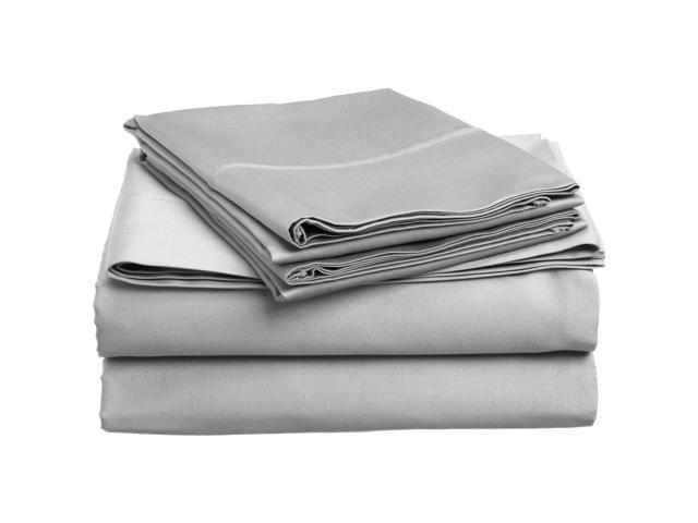 Impressions Queen Sheet Set 300-Thread Soft Cotton, Deep Pocket, Light Grey