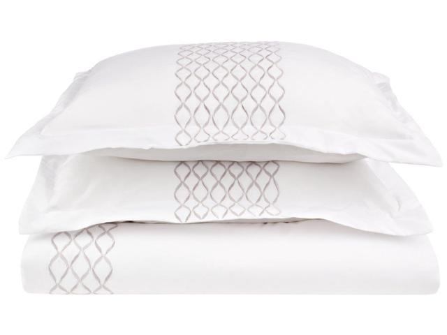 Impressions HANNAH Embroidered Duvet Cover Set, Soft Microfiber, Full/Queen, White/Grey