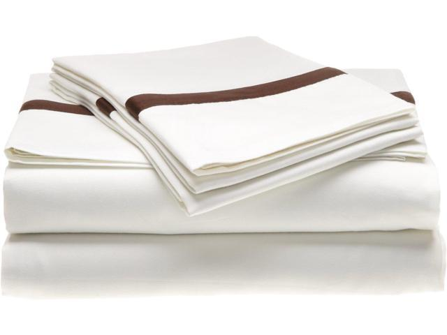 Impressions 300-Thread-Count Sheet Set, 100% Long-Staple Cotton, Queen, White/Choco