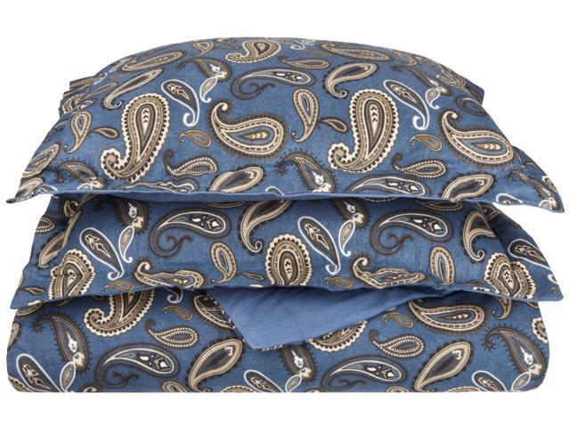 Impressions Paisley 100% Cotton Flannel Sheet Set, Warm & Cozy For Winter, King, Navy Blue