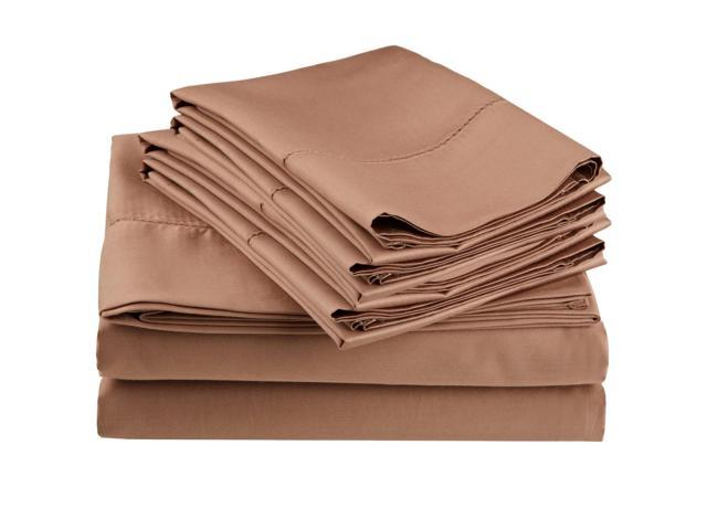 Impressions Embroidered Hem Stitch Sheet Set, Extra Pillowcases, King, Taupe