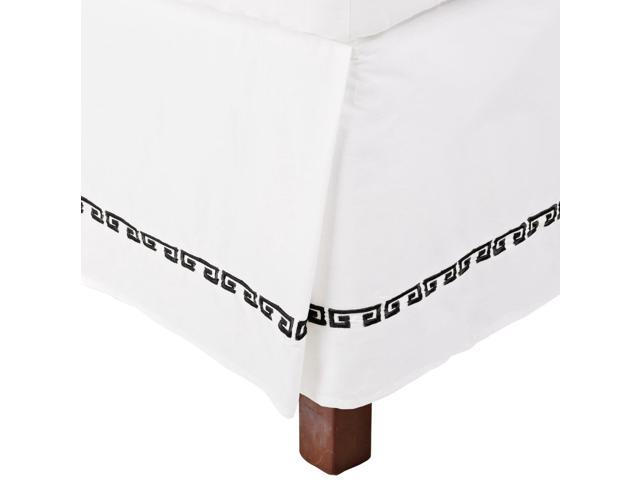 Impressions Kendell Embroidered Long-Staple Cotton Bed Skirt, White/Black, Cal King