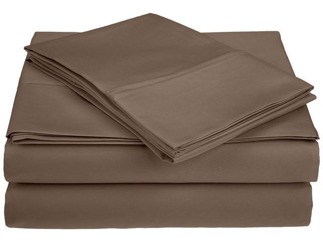 Impressions 450-Thread-Count Sheet Set, 100% Premium Combed Cotton, Queen, Taupe