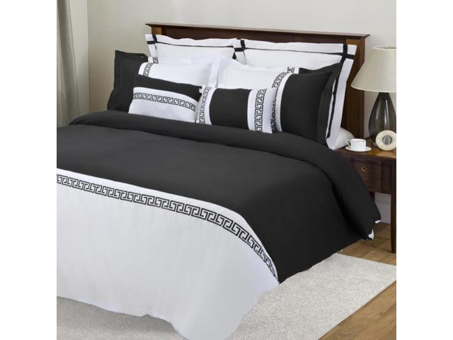 Impressions Emma 7-Piece Duvet Cover Set, Soft Microfiber, King/Cal King, White/Black