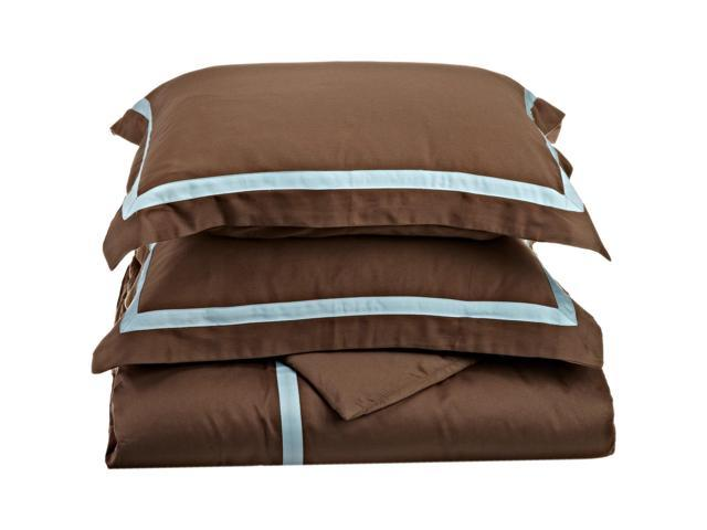 Luxor Treasures 300-Thread Duvet Cover Set, Long-Staple Cotton, King/Cal King, Mocha/Sky Blue