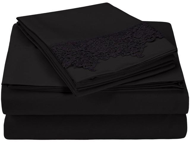 Superior Regal Lace Embroidery Microfiber Sheet Set, Gift Box, Twin XL, Black