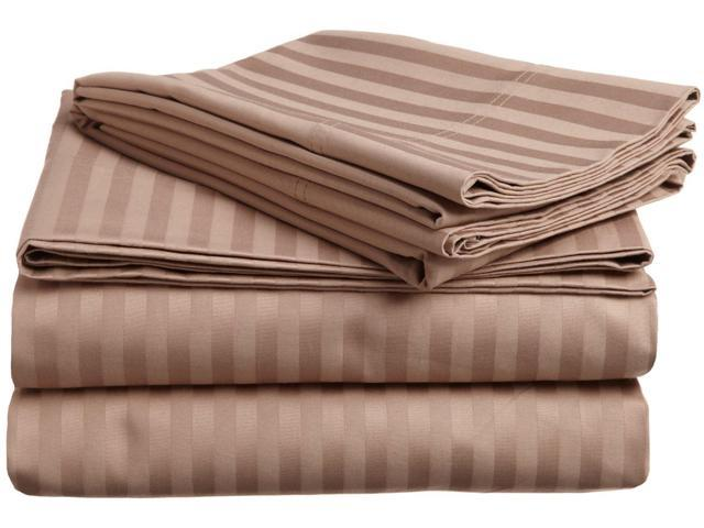 Impressions Striped 300-Thread Sheet Set, Premium Long-Staple Cotton, Queen, Taupe