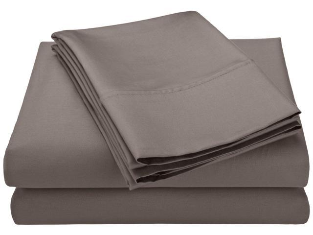 Impressions 600-Thread-Count Sheet Set, Cotton Rich, Twin, Grey