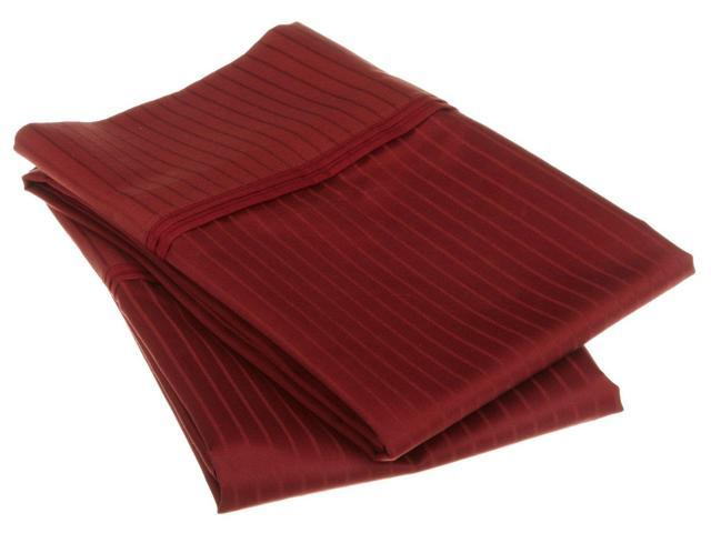 Impressions Striped 1000-Thread-Count Pillowcases, Premium Cotton, King, Burgundy