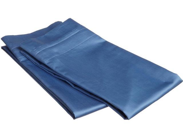 Impressions Egyptian Cotton King Pillowcases, 650 Thread Count, 2-Pieces , Medium Blue
