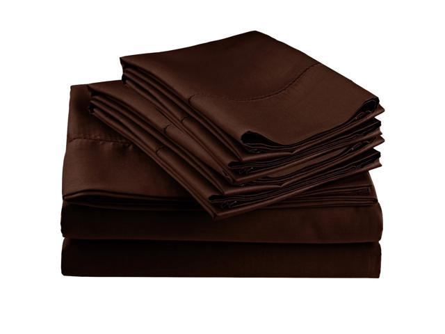 Impressions Embroidered Hem Stitch Sheet Set, Extra Pillowcases, Twin, Chocolate