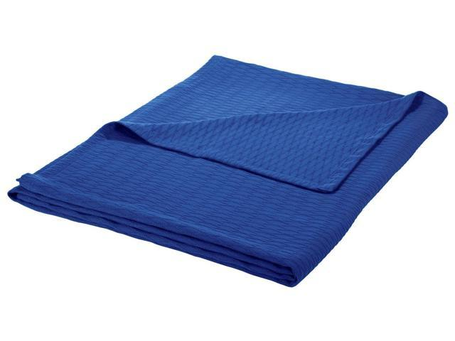 Impressions Full/Queen Blanket 100% Cotton, For All Season, DIAMOND Design, Merritt Blue