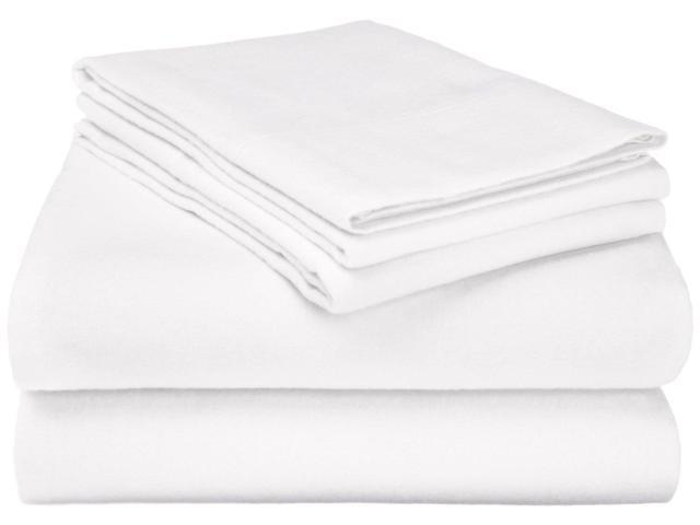 Superior 100% Cotton Flannel Sheet Set, Warm & Cozy For Winter, King, White