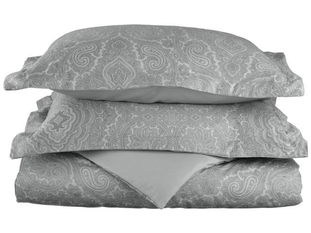 Superior Paisley 600-Thread-Count Duvet Cover Set, Cotton Rich, Full/Queen, Grey