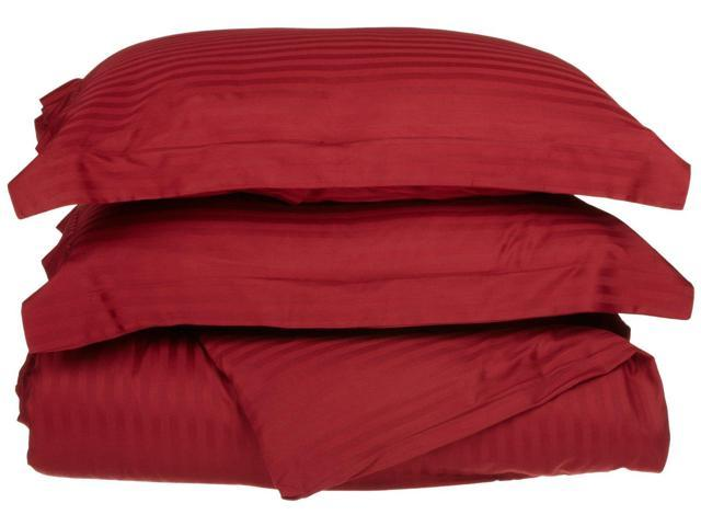 Impressions Striped Duvet Cover Set, Soft Wrinkle Free Microfiber, Full/Queen, Burgundy