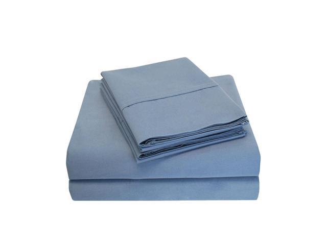 Impressions 6-Piece 800-Thread-Count Sheet Set, 100% Long-Staple Cotton, Full, Medium Blue