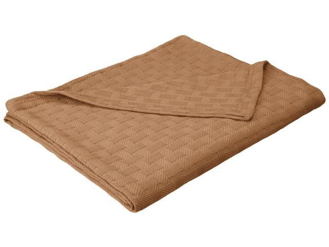 Impressions King Blanket 100% Cotton, For All Season ,BASKET WEAVE Design, Taupe