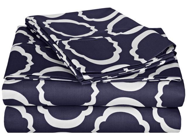 Impressions Scroll Park Sheet Set, 600-Thread-Count,Cotton Rich, Queen, Navy Blue