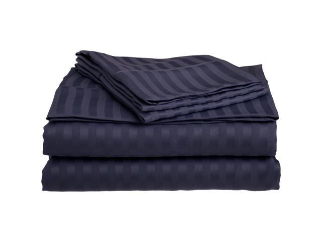 Impressions Striped Soft Sheet Set, Wrinkle Free Microfiber, Deep Pocket, Full, Navy Blue