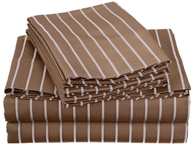 Impressions Bahama Striped Sheet Set, Extra Pillowcases, Twin XL, Taupe