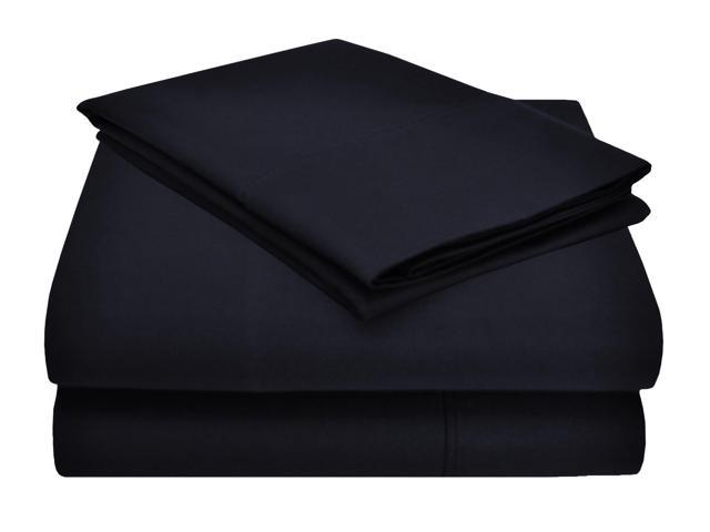 Impressions 1200-Thread-Count Sheet Set, Cotton Rich, Queen, Navy Blue