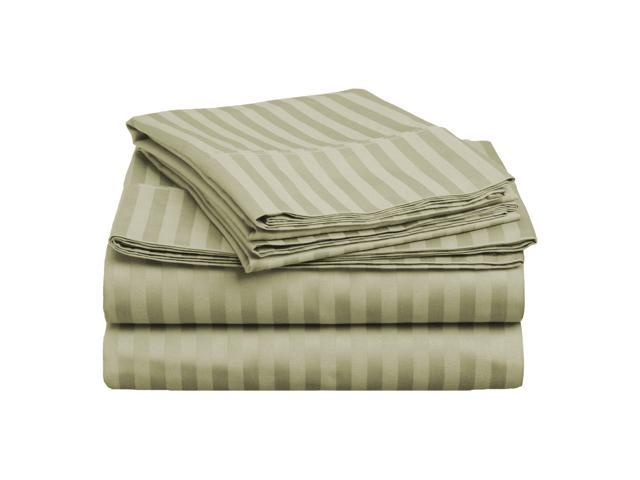 Impressions Striped Premium Cotton Sheet Set, 400-Thread-Count, Queen, Sage