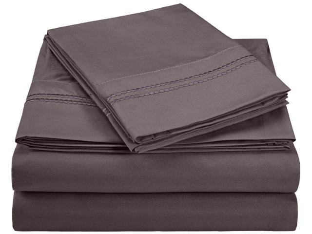 Impressions 2-Line Embroidery Microfiber Sheet Set, Gift Box, Twin, Charcoal