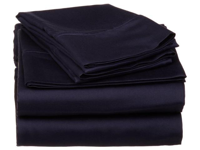 Impressions 530-Thread-Count Sheet Set, Premium Long-Staple Cotton, Cal King, Navy Blue