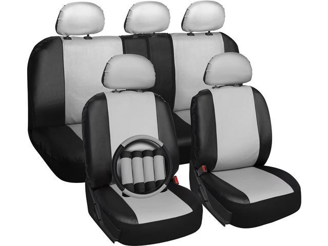 OxGord Premium Faux Leather Car Seat Cover Set