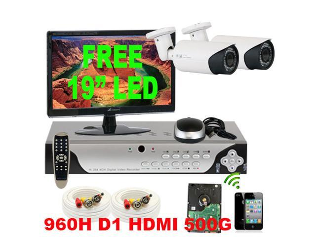 GW 4 Channel H.264 960H & D1 Realtime DVR Security Camera System with 2 x HDIS CCD Security Camera 650TV Line 2.8~12mm Manual Varifocal Lens ...