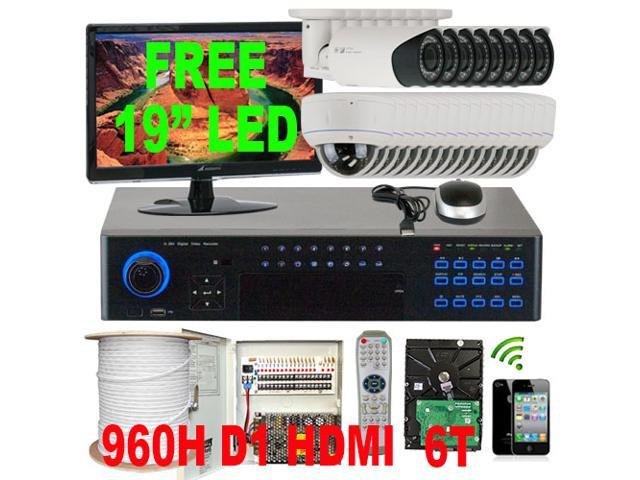 GW 32 Channel DVR (6TB HDD) 960H Real Time Recording & Playback, 24 x 1000 TVL 2.8~12mm Manual Varifocal Lens CCTV Surveillance Kit Security Camera System, PC & Cellphone Viewable, 19