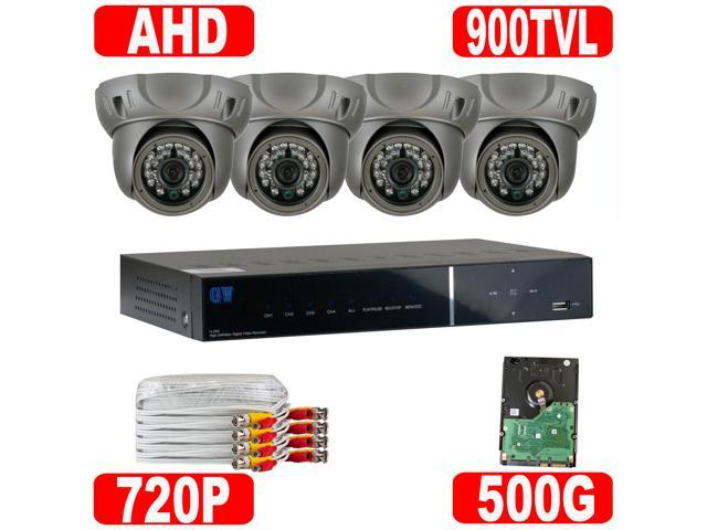 GW 4 Channel 960H Security System DVR Kit Easy QR-Code Scan Smartphone Access 900 TVL High Resolution Water Vandal Proof ...