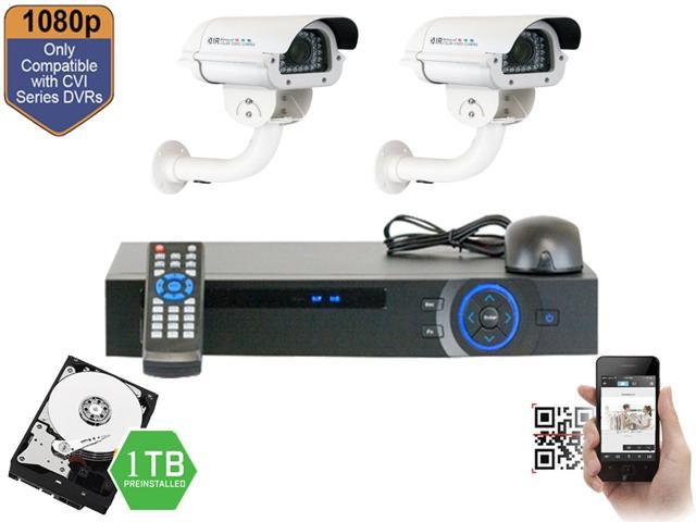 GW 4 Channel HDCVI DVR Security Camera System with 2 x HDCVI Color IR CCTV Camera,5~50mm Manual Varifocal Lens,2.0 Mega pixel ...
