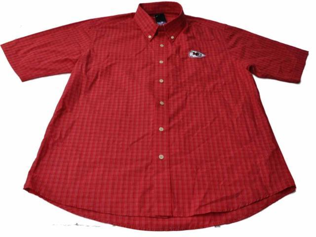 Kansas city chiefs antigua red embroidered logo button up