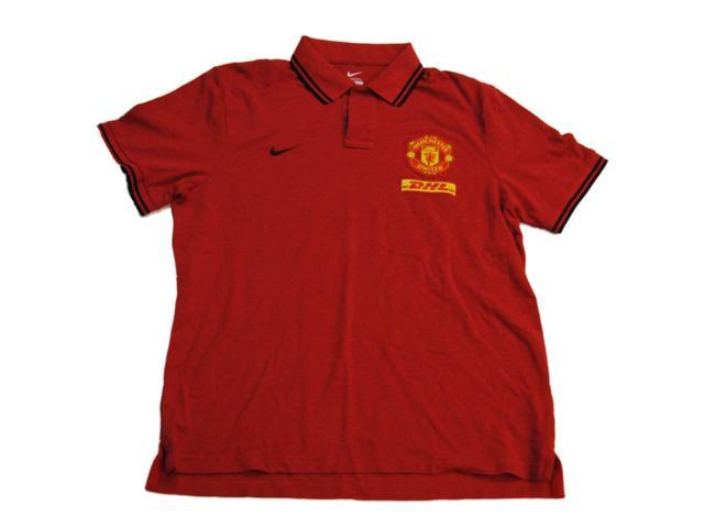Manchester united nike red futbol soccer cotton golf polo for Nike cotton golf shirts