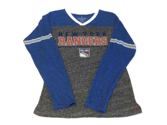 New York Rangers SAAG WOMENS Blue and Gray LS High V-Neck T-Shirt (M)