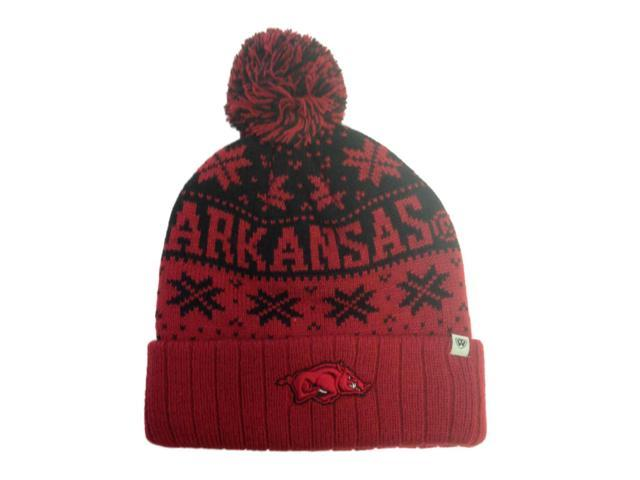 Arkansas Razorbacks TOW Red Subarctic Snowflake Poofball Cuffed Hat Cap Beanie