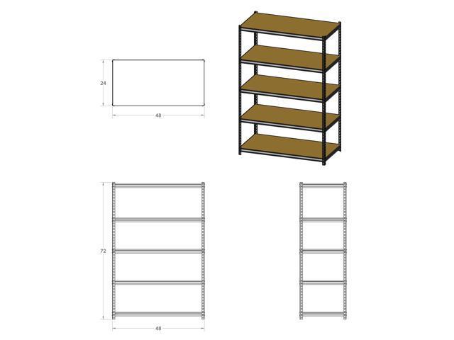 edsal 5 shelf heavy duty steel shelving black. Black Bedroom Furniture Sets. Home Design Ideas