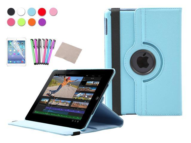 For Apple iPad Air Case 360 Degree Rotating Stand PU Leather Case Cover For iPad 5 5th Gen + Screen Protector + Stylus Pen + Cleaning Cloth