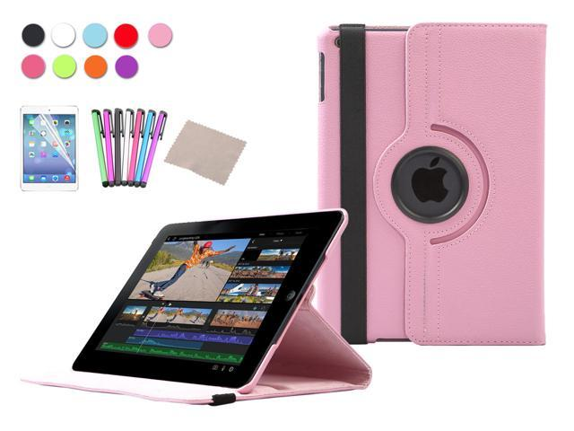 For Apple iPad Air Case 360 Degree Rotating Stand PU Leather Case Cover For iPad 5 5th Gen + Screen Protector + Stylus Pen ...