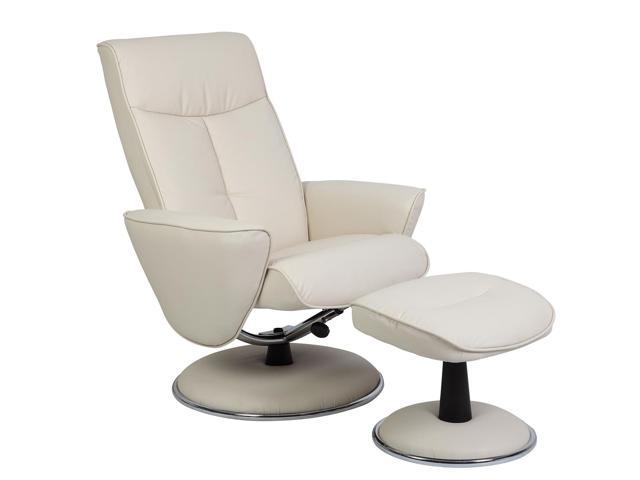 Mac Motion Chairs 830-27-UPH Bonded Leather Swivel, Recliner with Ottoman, Snow