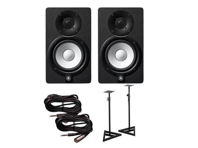Yamaha hs5 active monitors pair with trs xlr male cables for Yamaha hs5 speaker stands